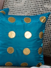 Blue Silk Polka Dots Cushion Cover Set - By