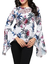 white printed crepe top -  online shopping for Tops
