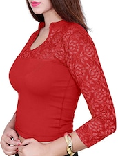 red plain lace blouse -  online shopping for Blouses
