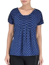 Navy Blue  Polyester Polka Dots Print Top - By