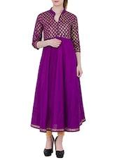 Purple Cotton Anarkali Kurta - By