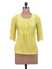 Yellow Cotton Solid Three Quarter Sleeved Top - By