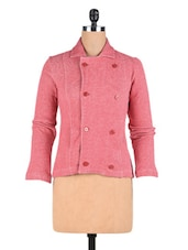 Red Polyester Knit And Fleece Solid Long Sleeved Jacket - By