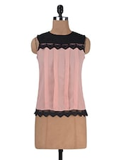 Pink Poly Crepe Solid Sleeveless Top - By