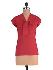 Red Polyester Solid Short Sleeved Top - By