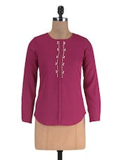 Red Polyester Solid Long Sleeved Shirt - By