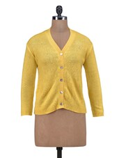 Yellow Wool Acrylic Solid Long Sleeved Cardigan - By