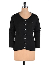 Black Wool Acrylic Solid Long Sleeved Cardigan - By