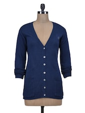 Blue Wool Acrylic Solid Long Sleeved Cardigan - By