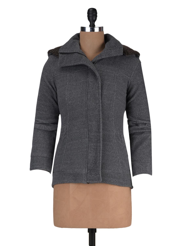 Grey Fleece Solid Long Sleeved Jacket - By