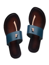 Blue Leather Flip Flops - By
