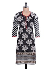 Black Cotton Paisley Printed Round Necked Kurti - By