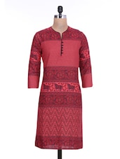 Red Cotton Polka Dot Printed Kurti - By