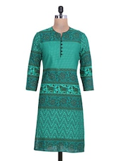 Green Cotton Polka Dot Printed Kurti - By