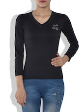 Black Viscose V Neck T Shirt - By