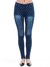 blue printed cotton jegging -  online shopping for Jeggings