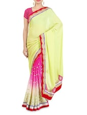 Lemon Green And Pink Embroidered Georgette Sari - By