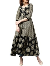 Beige Cotton Printed  A-line Kurta - By
