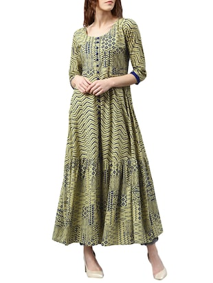 beige cotton printed  anarkali kurta -  online shopping for kurtas
