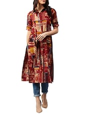 red georgette printed  straight kurta -  online shopping for kurtas