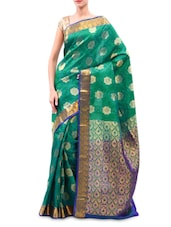 Dark Green And Blue Kanjivaram Silk Saree - By