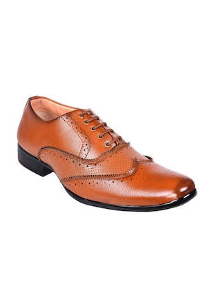 tan leatherette lace up brouge -  online shopping for Brouges