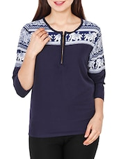 navy blue printed polycrepe regular top -  online shopping for Tops