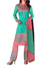 Sea-green And Pink Embroidered Suit Set - By