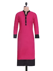 Pink And Black Rayon Kurti - By