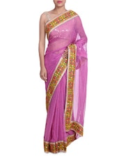 Pink Lehariya Georgette Saree With Embroidered Border - By