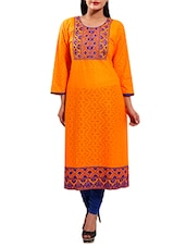 orange rayon straight kurta -  online shopping for kurtas