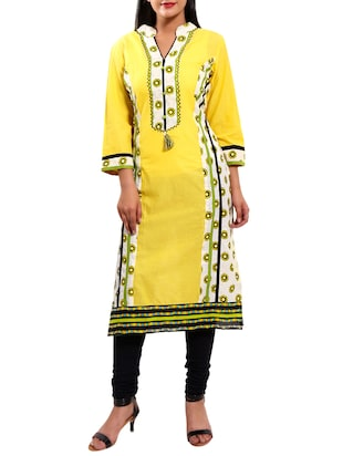 yellow cotton straight kurta -  online shopping for kurtas