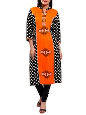 orange cotton long  kurta -  online shopping for kurtas