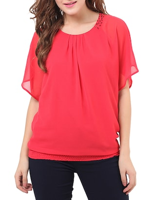 red georgette top -  online shopping for Tops
