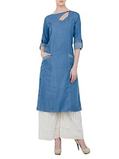 blue denim straight kurta -  online shopping for kurtas
