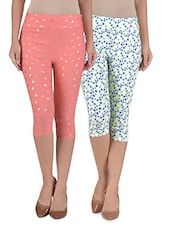 Multicolored Cotton And Spandex Polka Dot Printed Short Stretchable Capris Set - By