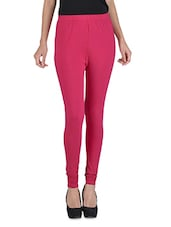 Solid Pink Stretchable Leggings - By