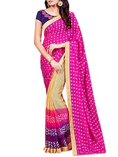 pink georgette half and saree -  online shopping for Sarees