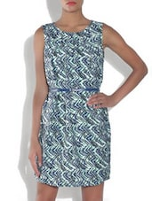 Light Green And Blue Polyester Printed Sleeveless Top - By