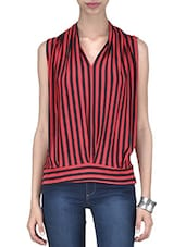 Red And Black Polyspandex Striped Top - By