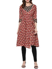 Red Cotton Block Printed Angrakha Kurta - By