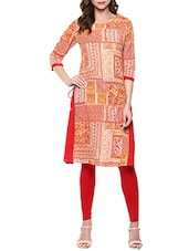 Red And Orange Cotton Block Printed A-line Kurta - By
