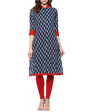 Indigo Printed Cotton Kurta -  online shopping for kurtas