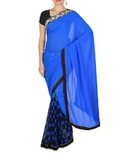 Royal Blue Embellished And Checker Printed Georgette Saree - By
