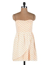 Cream And Yellow Cotton Polka Dots Print Dress - By