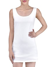 Solid White Polyester Spandex Laced Dress - By