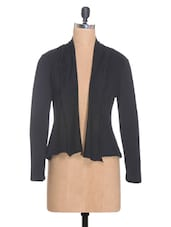 Black Viscose Relaxed Shrug - By