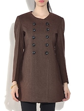 Brown Wool Blend Long Sleeves Double-Breasted Coat - By