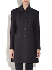 Brown Wool Blend Long Sleeves Coat - By
