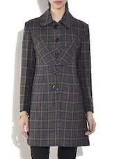 Yellow Wool Blend  Checkered Long Sleeves Coat - By